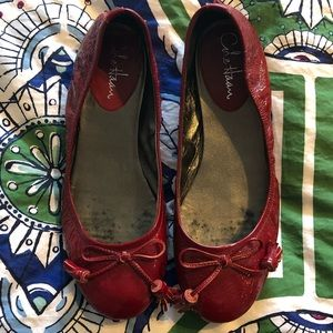 Cole Haan patent red flats